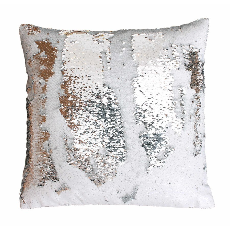Melody Mermaid Reversible Sequins 20-in W x 20-in L White Silver Square Indoor Decorative Pillow