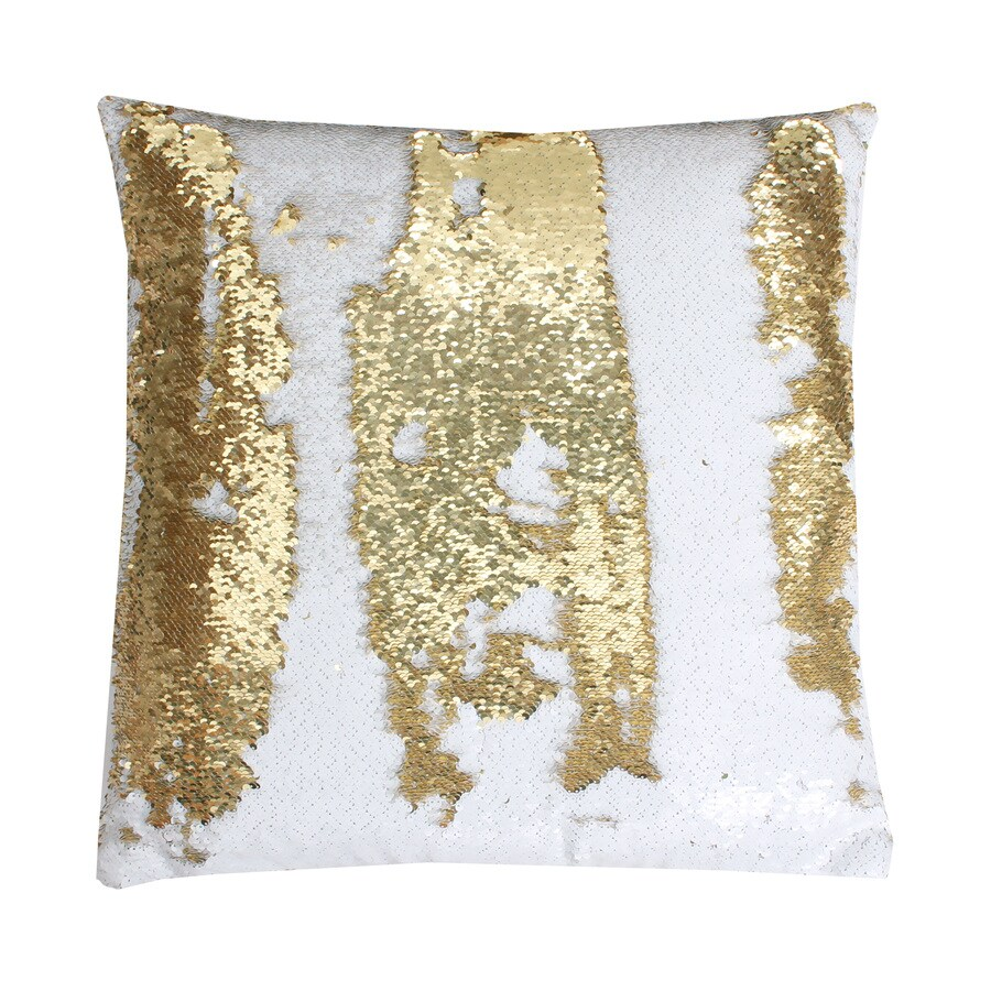 Decorative Pillows White And Gold : Shop Melody Mermaid Reversible Sequins 20-in W x 20-in L White Gold Square Indoor Decorative ...