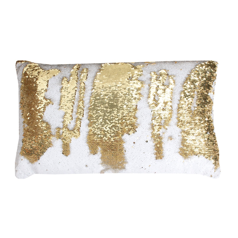 Melody Mermaid Reversible Sequins 20-in W x 12-in L White Gold Indoor Decorative Pillow