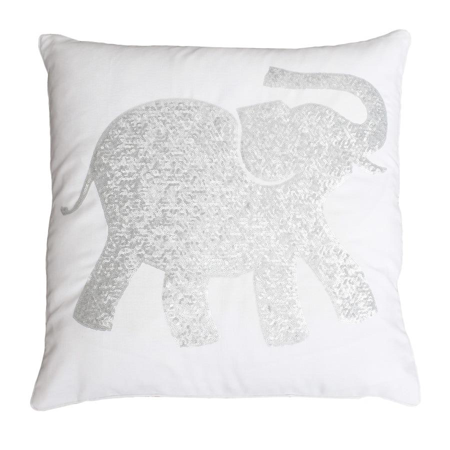 20-in W x 20-in L White Silver Square Indoor Decorative Pillow
