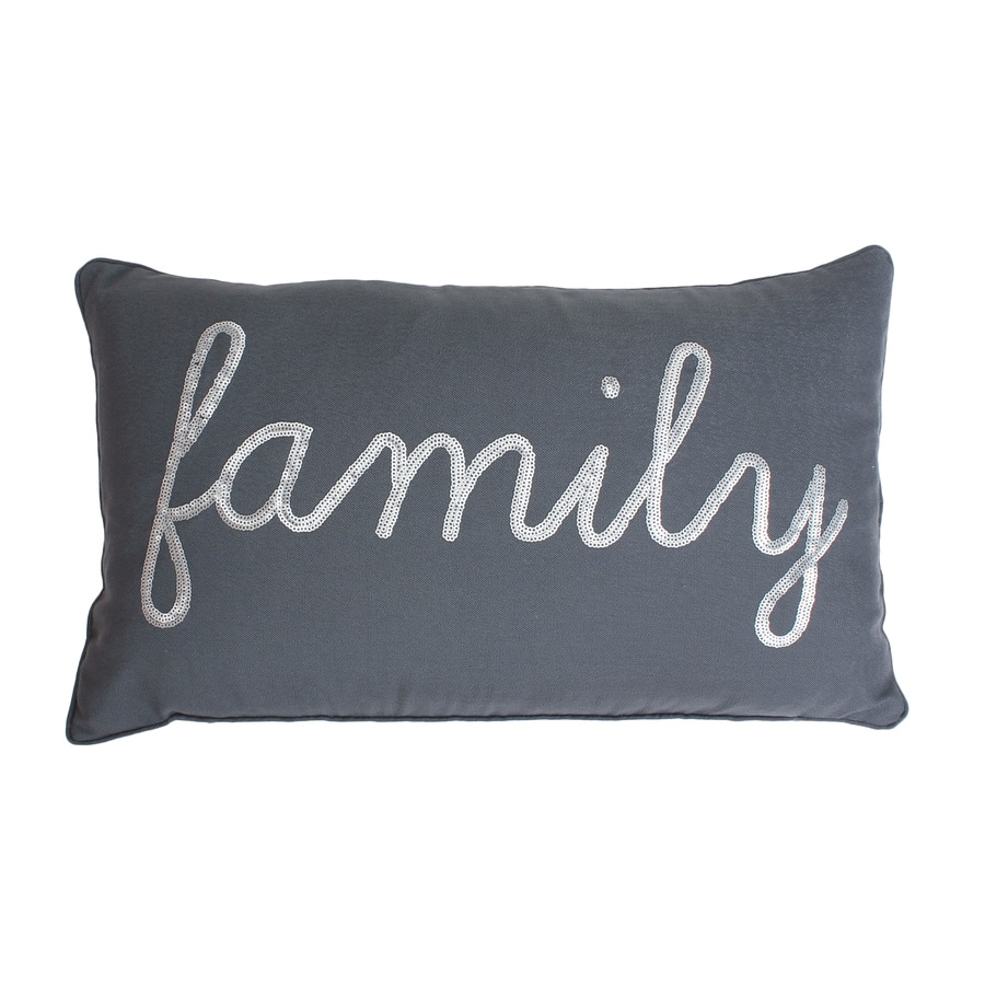 20-in W x 12-in L Charcoal Silver Indoor Decorative Pillow