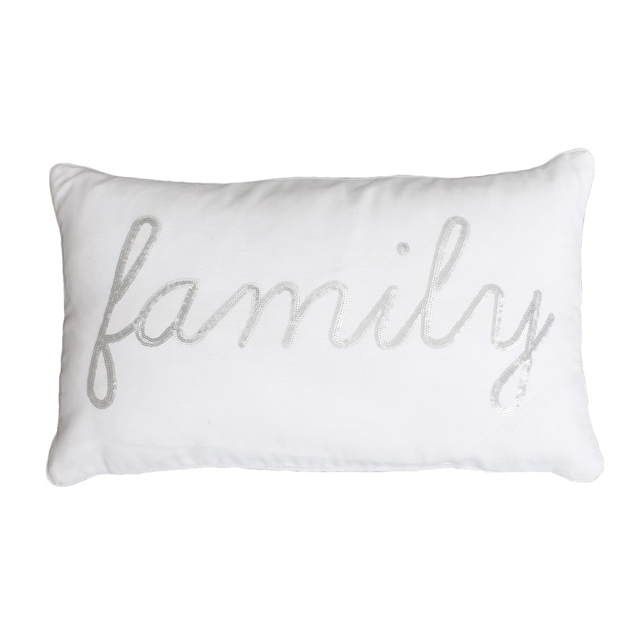 20-in W x 12-in L White Silver Rectangular Indoor Decorative Pillow