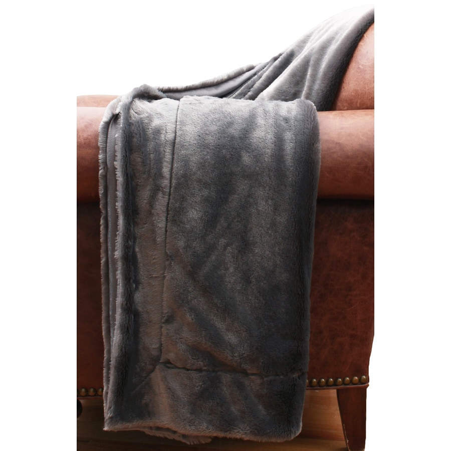allen + roth Charcoal 50-in L x 60-in W Polyester Throw