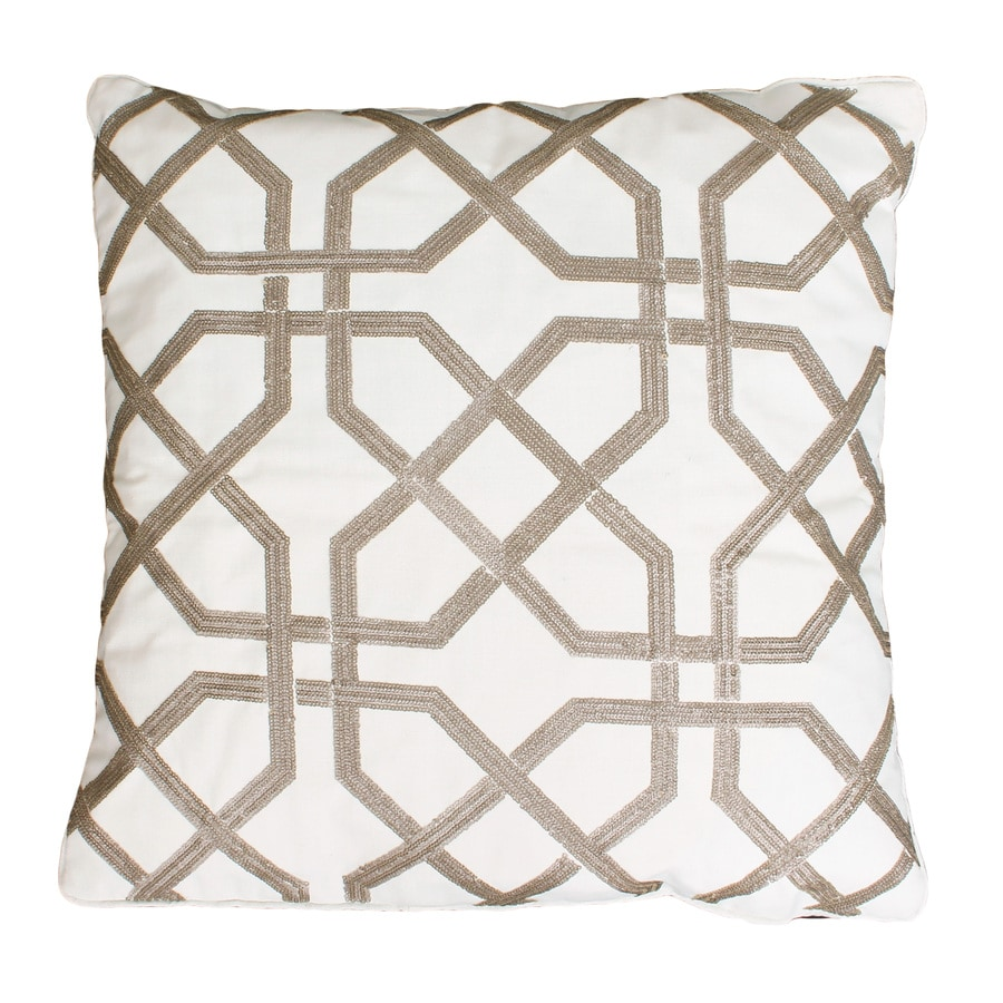 Shop allen + roth 18-in W x 18-in L Antique White Square Indoor Decorative Pillow at Lowes.com