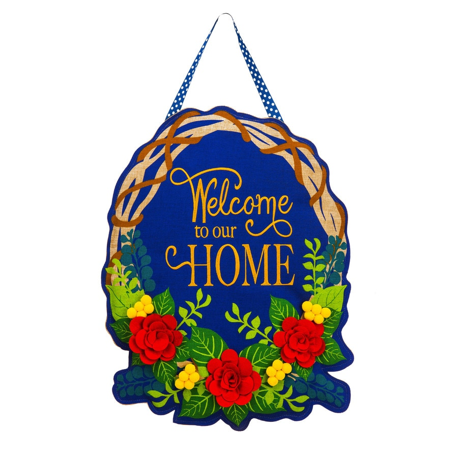 Evergreen 1.25-ft W x 1.875-ft H Floral Embroidered Banner