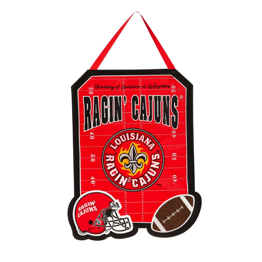 Evergreen 1.25-ft W x 1.66-ft H Sports Embroidered Louisiana Lafayette Ragin Cajuns Flag