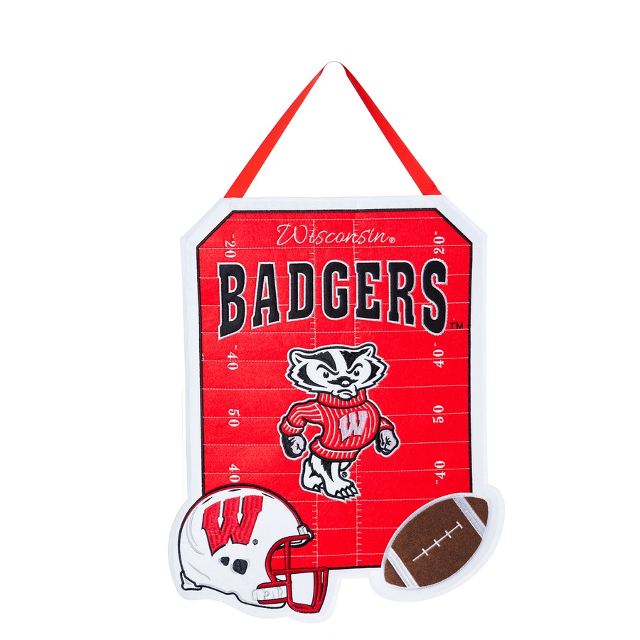Evergreen 1.25-ft W x 1.66-ft H Sports Embroidered Wisconsin Badgers Flag