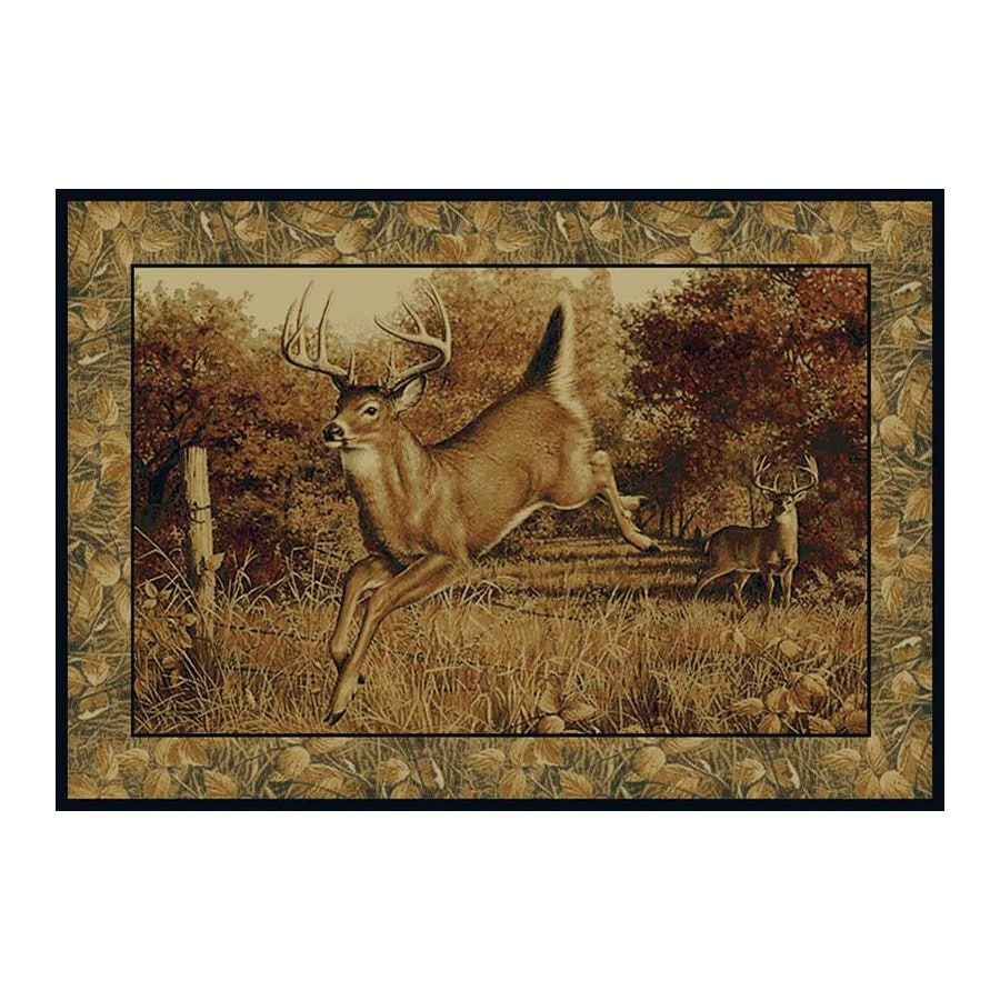 United Weavers Of America Hautman Brown Rectangular Indoor Woven Lodge Area Rug (Common: 5 x 8; Actual: 63-in W x 86-in L)