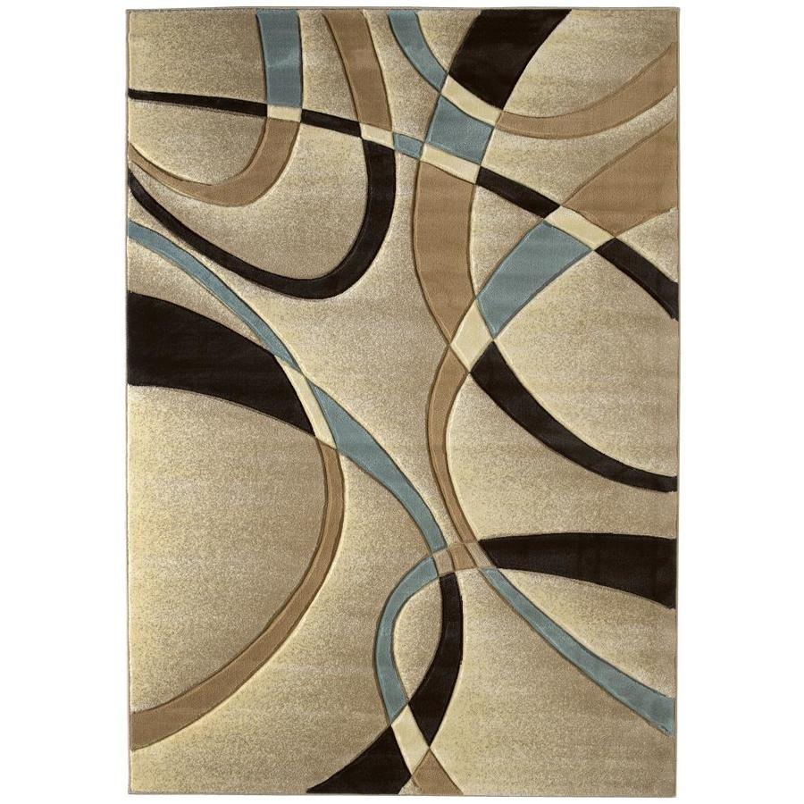 United Weavers Of America Contours Ivory Rectangular Indoor Machine-Made Inspirational Area Rug (Common: 6 x 9; Actual: 63-ft W x 86-ft L x 0-ft Dia)