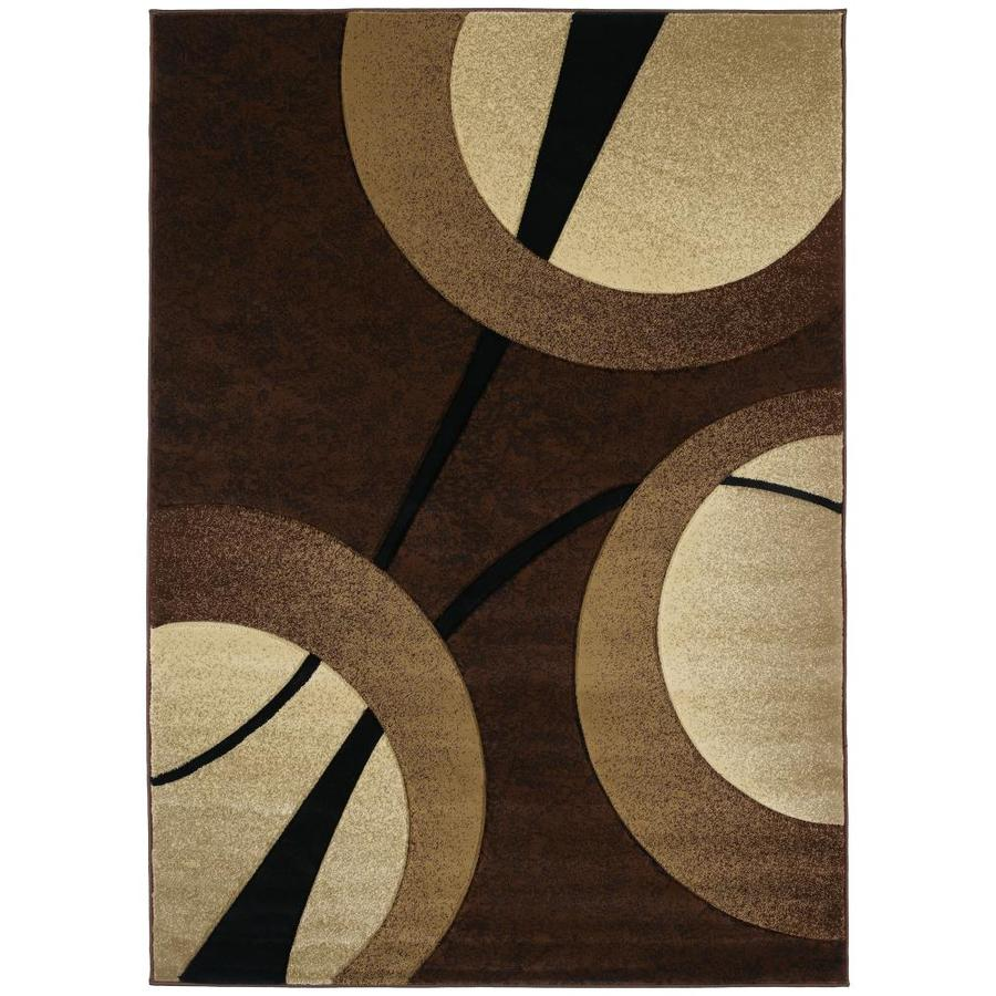 United Weavers Of America Contours Brown Rectangular Indoor Machine-Made Inspirational Area Rug (Common: 6 x 9; Actual: 63-ft W x 86-ft L x 0-ft Dia)