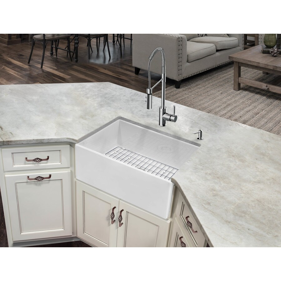 Superior sinks 24 in x 18 in white single basin standard undermount apron front farmhouse residential kitchen sink all in one kit