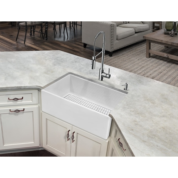 Superior Sinks Undermount Apron Front Farmhouse 30 In X 18 In White Single Bowl Kitchen Sink All In One Kit In The Kitchen Sinks Department At Lowes Com