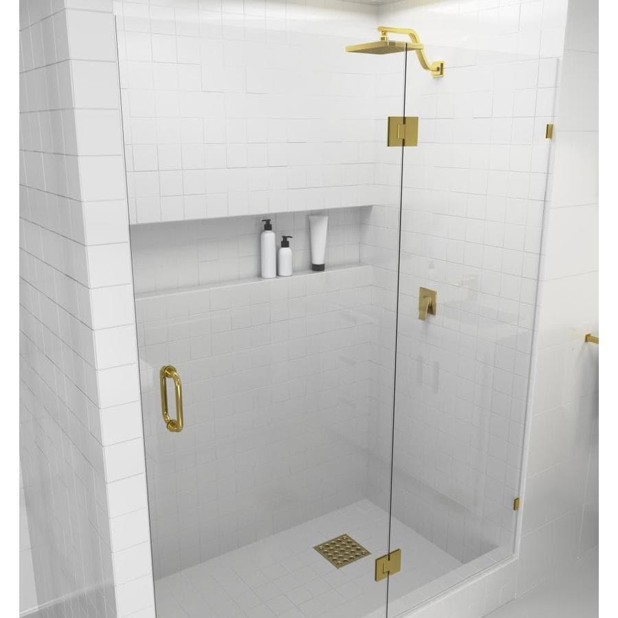 Glass Warehouse Glass Warehouse 78 In H X 51 75 In To 52 In W Frameless Hinged Polished Brass Shower Door Clear Glass In The Shower Doors Department At Lowes Com