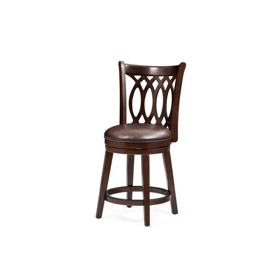 M D Furniture Chelsea Dark Cherry Counter Height Upholstered Swivel Bar Stool In The Bar Stools Department At Lowes Com