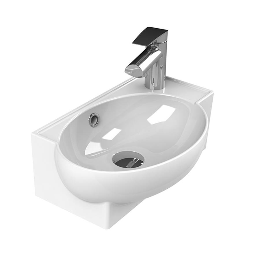 Nameeks Mini White Ceramic Wall Mount Rectangular Bathroom Sink With Overflow Drain 17 5 In X 11 2 In In The Bathroom Sinks Department At Lowes Com