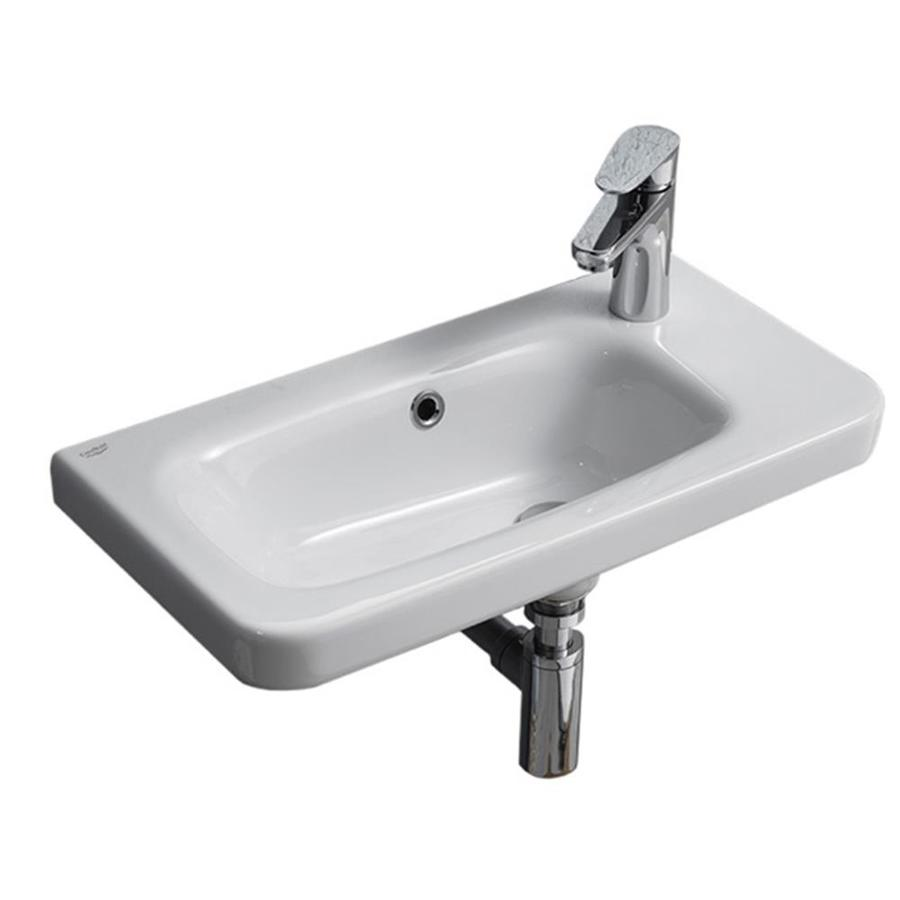 Nameeks Noura White Ceramic Wall Mount Rectangular Bathroom Sink With Overflow Drain 31 5 In X 14 78 In In The Bathroom Sinks Department At Lowes Com