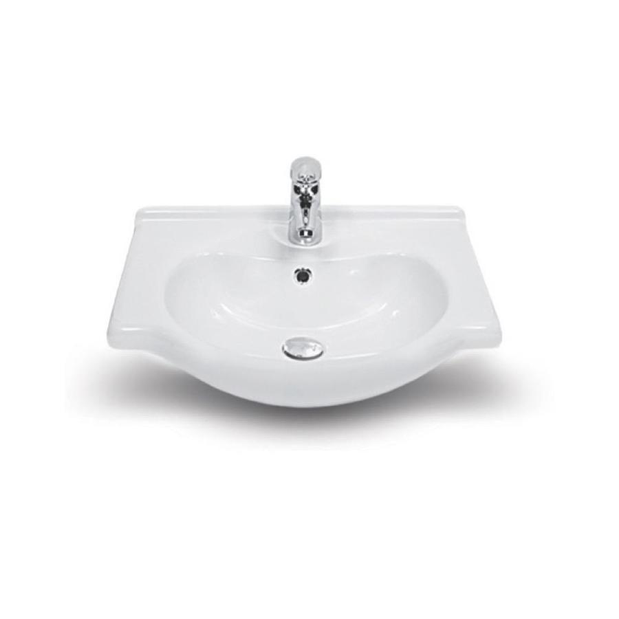 Nameeks Nil White Ceramic Wall Mount Rectangular Bathroom Sink With Overflow Drain 25 6 In X 19 7 In In The Bathroom Sinks Department At Lowes Com