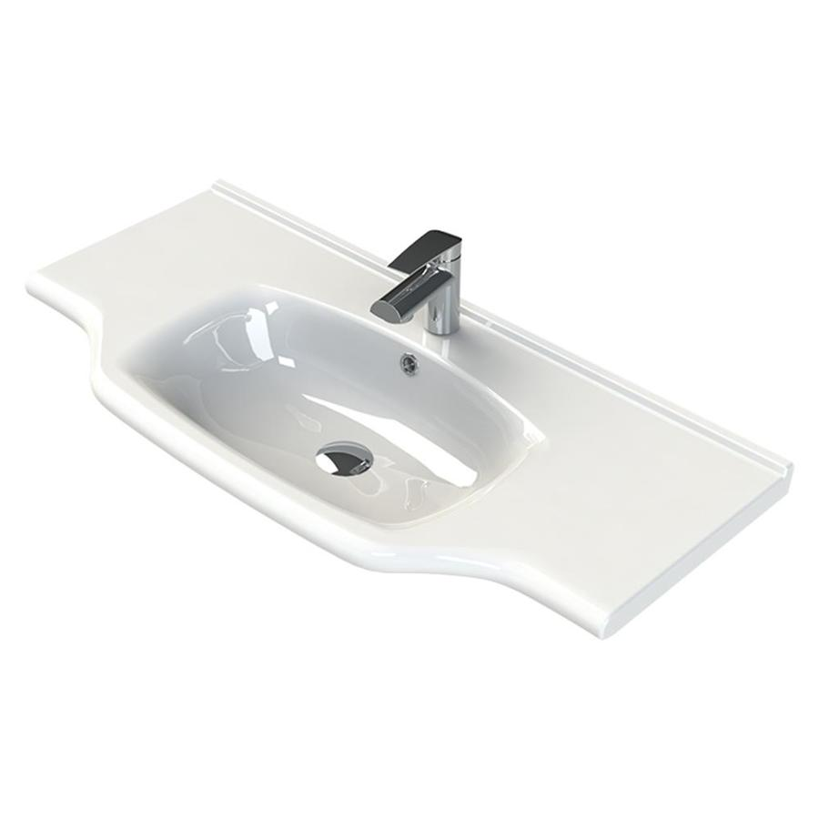 Nameeks Yeni Klasik White Ceramic Wall Mount Oval Bathroom Sink With Overflow Drain 40 In X 18 8 In In The Bathroom Sinks Department At Lowes Com