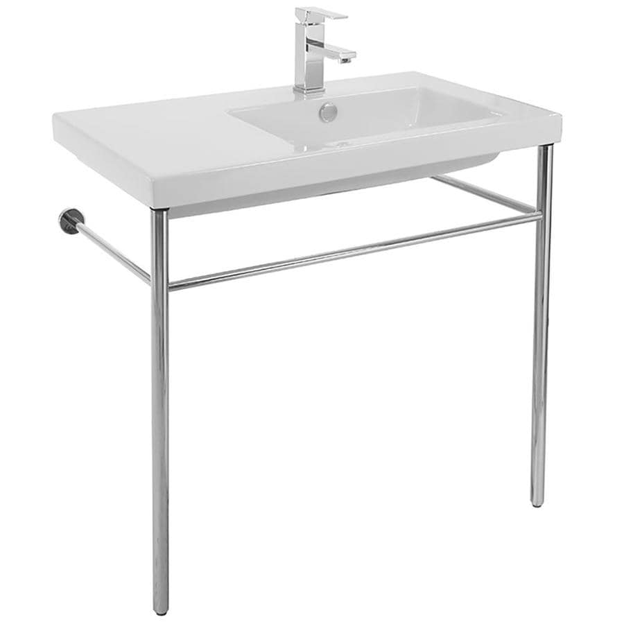Nameeks Condal White Ceramic Wall Mount Rectangular Bathroom Sink With Overflow Drain 31 5 In X 17 72 In In The Bathroom Sinks Department At Lowes Com