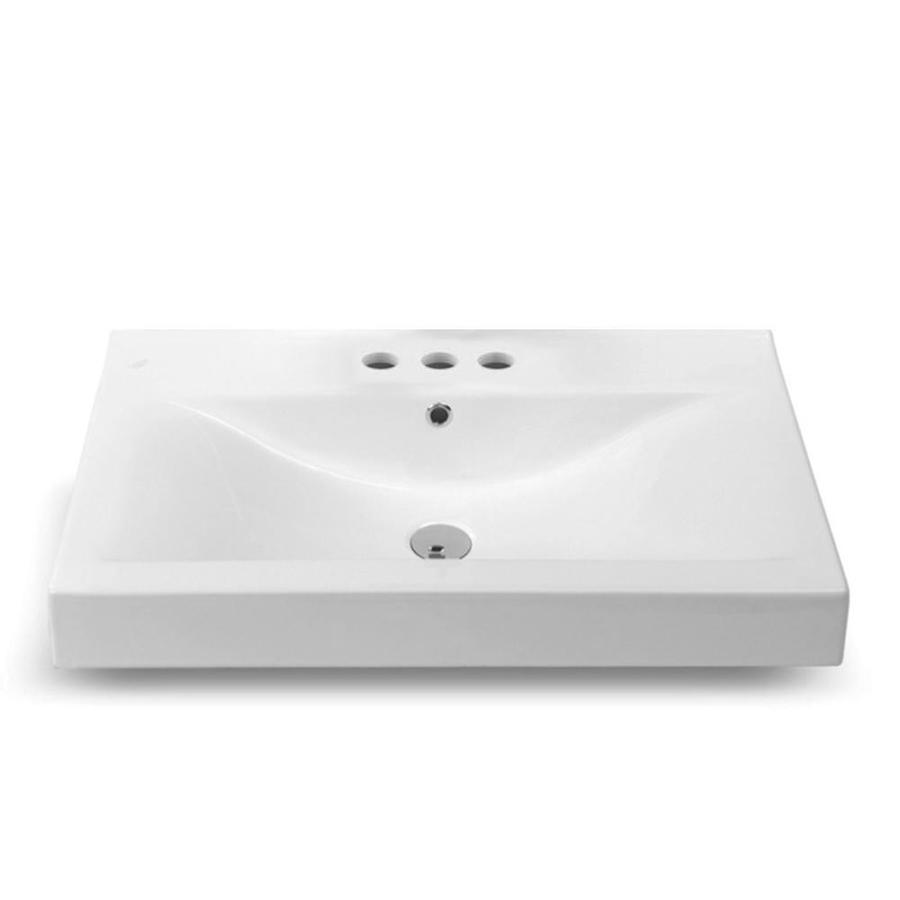 Nameeks Mona White Ceramic Wall Mount Rectangular Bathroom Sink With Overflow Drain 23 6 In X 17 7 In In The Bathroom Sinks Department At Lowes Com