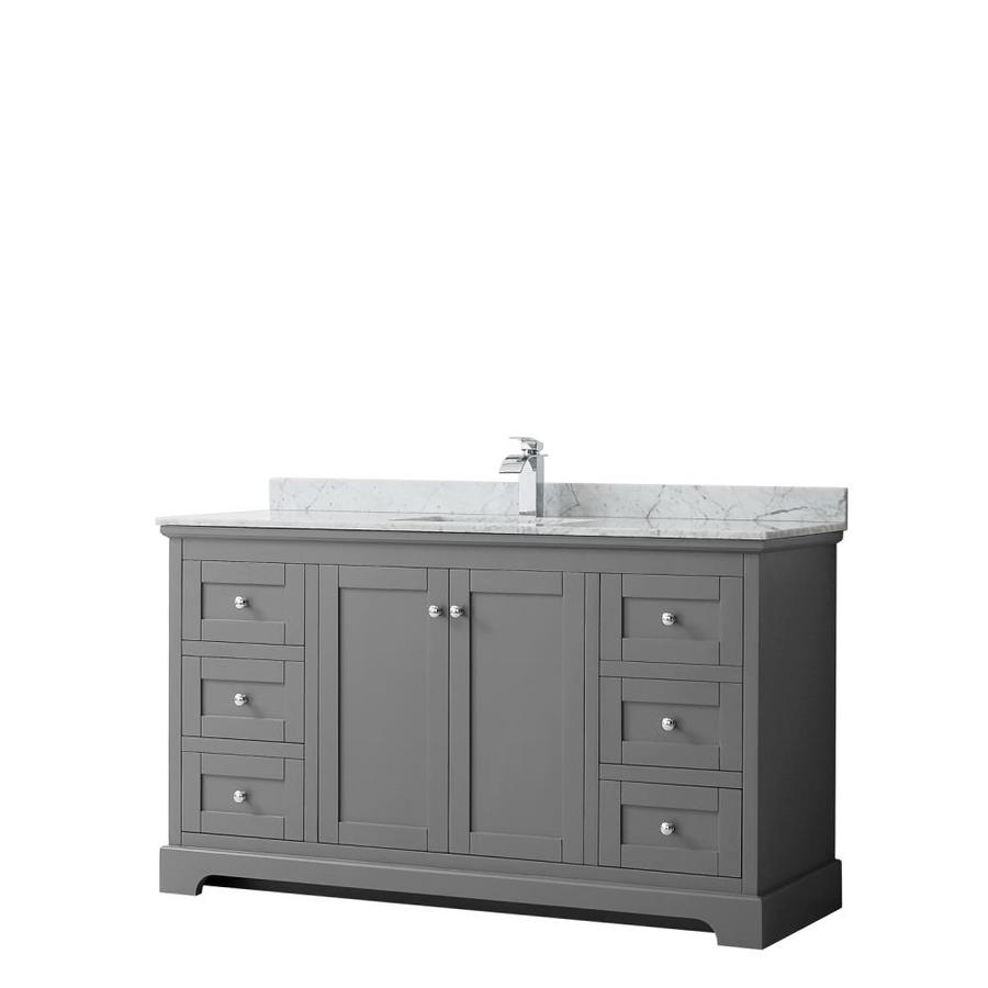Wyndham Collection Avery 60 In Dark Gray Undermount Single Sink Bathroom Vanity With White Carrara Marble Natural Marble Top In The Bathroom Vanities With Tops Department At Lowes Com