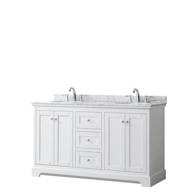Avery 60 In White Double Sink Bathroom