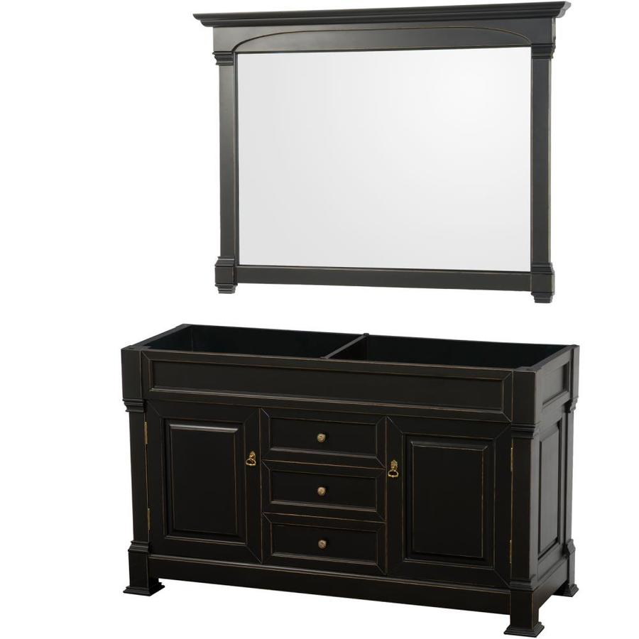 Wyndham Collection Andover 60 In Black Bathroom Vanity Cabinet Mirror Included In The Bathroom Vanities Without Tops Department At Lowes Com