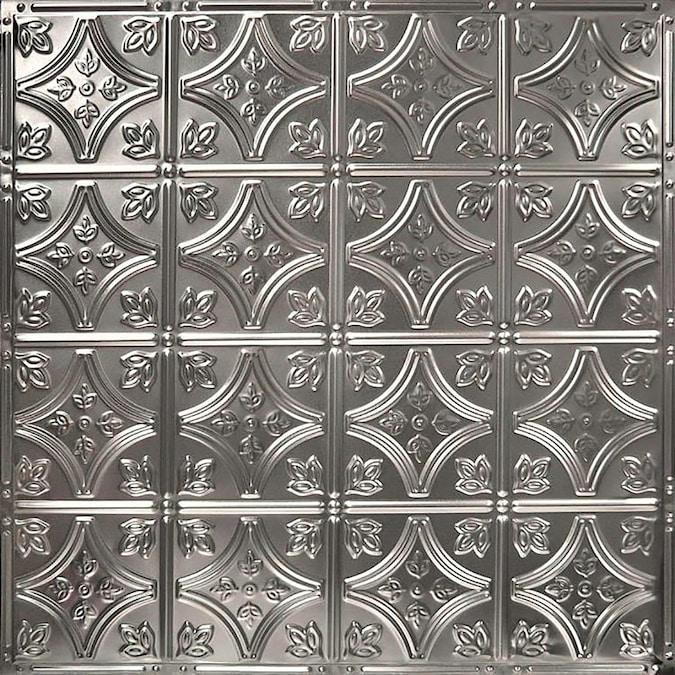 American Tin Ceilings Tin Backsplash 5 Pack Kit 2 Ft X 2 Ft In Stainless Steel Pattern 3 In The Backsplash Panels Department At Lowes Com