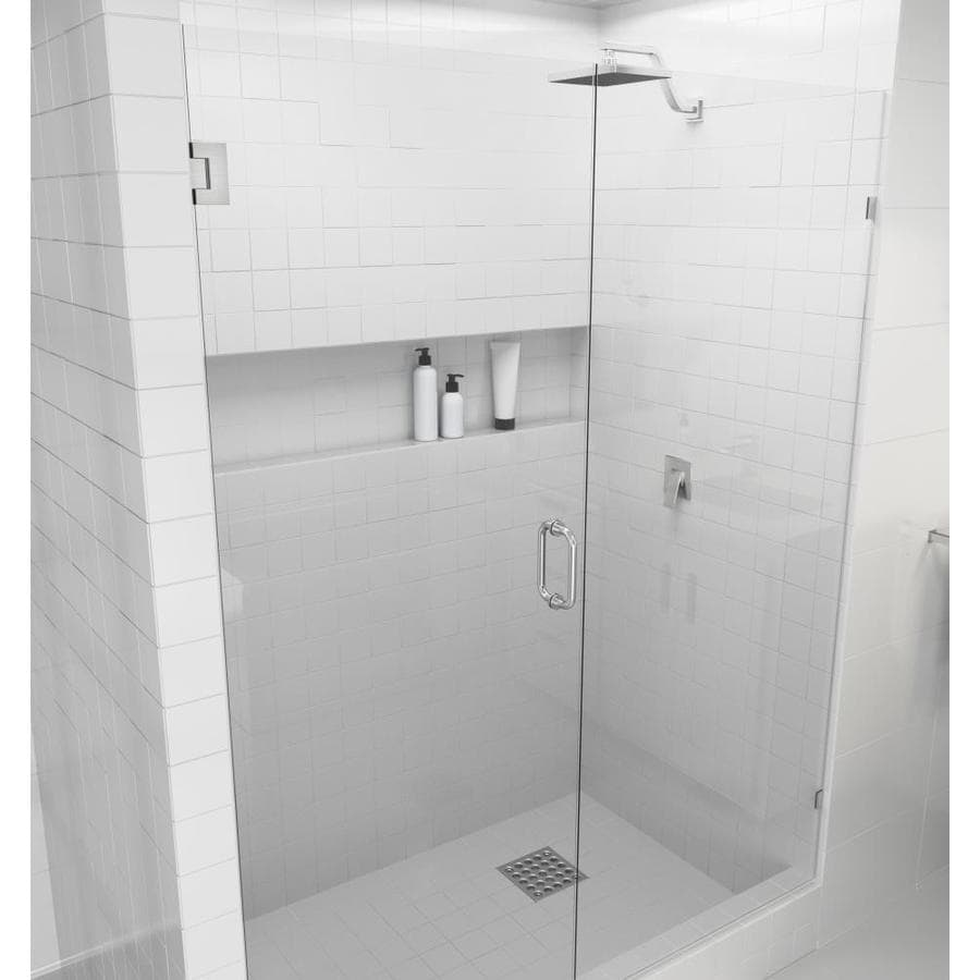 Glass Warehouse Glass Warehouse 78 In H X 44 75 In To 45 25 In W Frameless Hinged Brushed Nickel Shower Door Clear Glass In The Shower Doors Department At Lowes Com