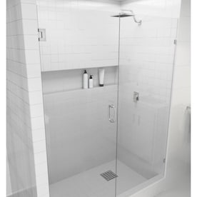 Dreamline Unidoor X 72 In H X 60 5 In To 61 In W Frameless Hinged Brushed Nickel Shower Door Clear Glass In The Shower Doors Department At Lowes Com