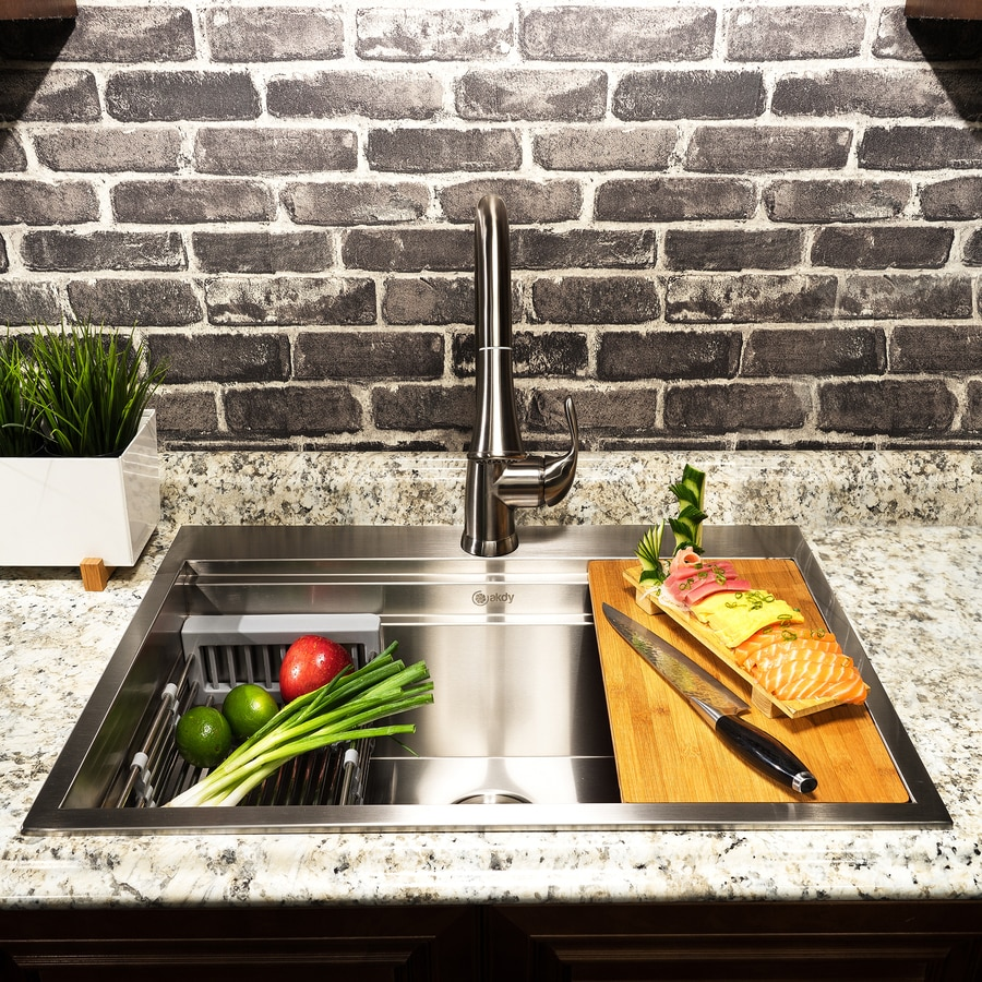 Akdy Handmade Drop In 33 In X 22 In Stainless Steel Single Bowl 1 Hole Workstation Kitchen Sink All In One Kit In The Kitchen Sinks Department At Lowes Com