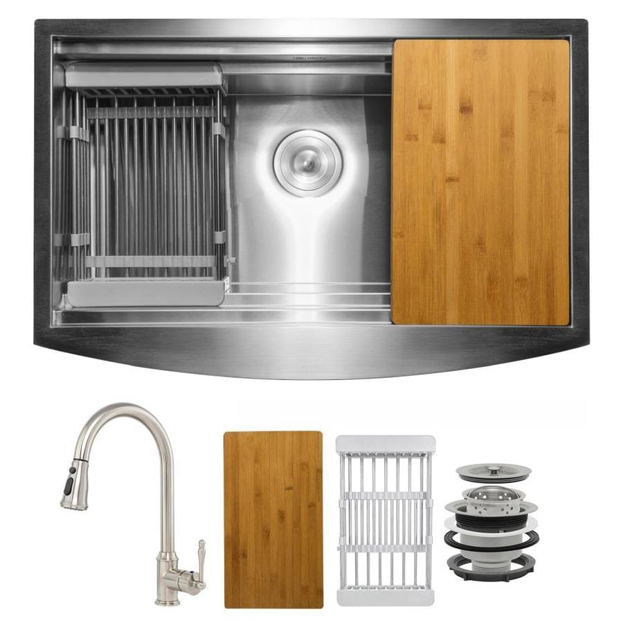 Akdy All In One Farmhouse Apron Front 33 In X 22 In Brushed Stainless Steel Single Bowl Workstation Kitchen Sink All In One Kit In The Kitchen Sinks Department At Lowes Com