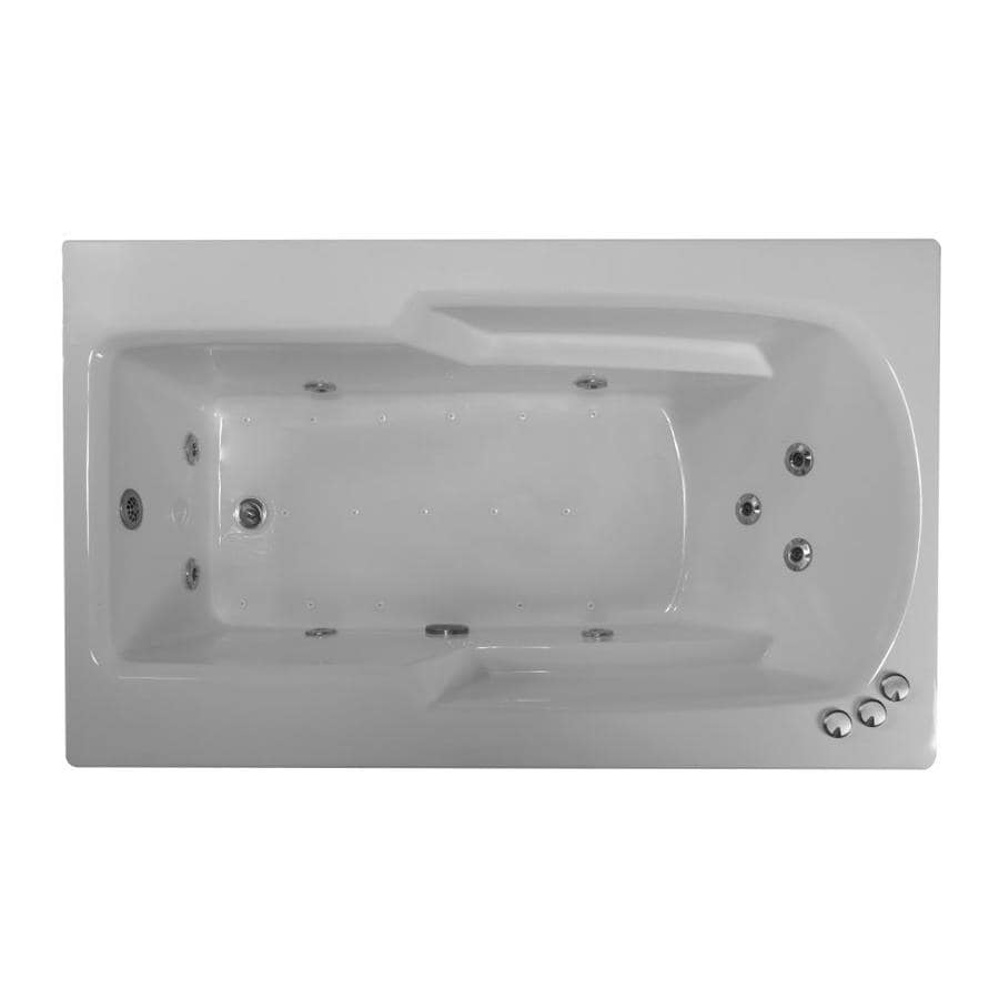 WaterTECH Watertech Sterling Silver Acrylic Rectangular Bathtub With  Reversible Drain (Common: 36 In X 60 In; Actual: 22.5 In X 36.0 In X  60.0 In)