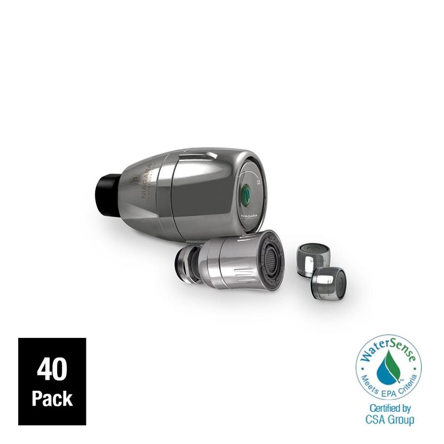 Niagara Conservation 40-Pack 2-in 1.5-GPM (5.7-LPM) Chrome 1-Spray WaterSense Showerhead
