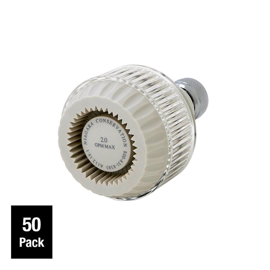 Niagara Conservation 50-Pack 2.5-in 2.5-GPM (9.5 LPM) White Clear 1-Spray Showerhead