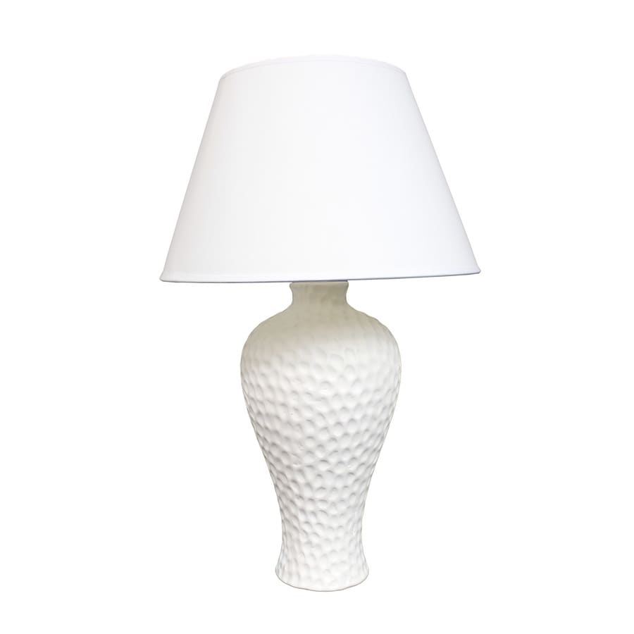 Simple Designs 19.5-in White Standard Indoor Table Lamp with Fabric Shade (Set Of 1)