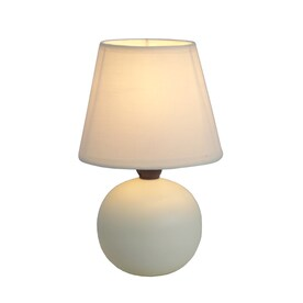 Simple Designs 8.66-in Off White Table Lamp with Fabric Shade