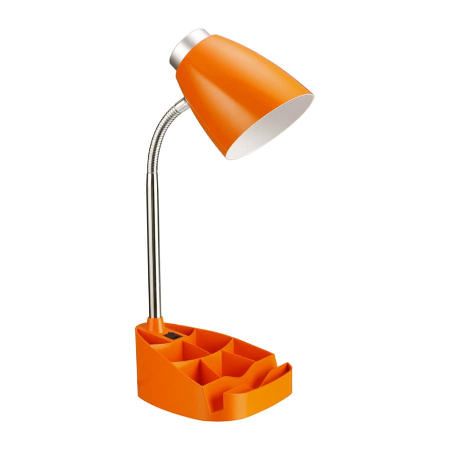 LimeLights 17.25-in Adjustable Orange Contemporary/Modern Desk Lamp with Plastic Shade