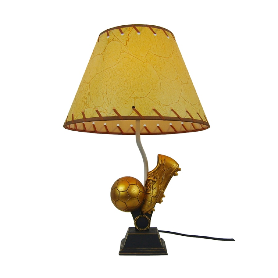 Simple Designs 15.75 In Gold Sports Indoor Table Lamp With Fabric Shade