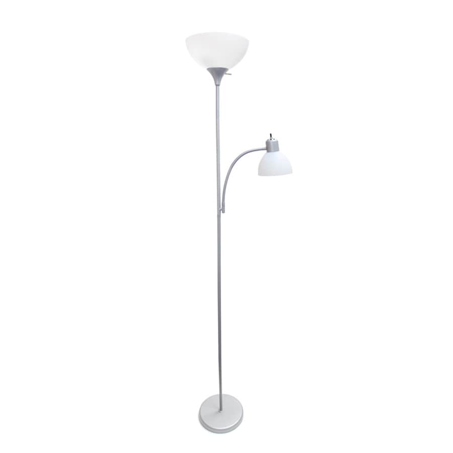 Simple Designs 71.5-in Silver 3-Way Torchiere with Reading Light Floor Lamp with Plastic Shade