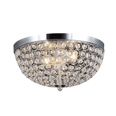 13 In Chrome Glam Flush Mount Light