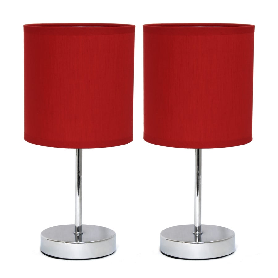 Simple Designs 2 Piece Standard Lamp Set With Red Shades