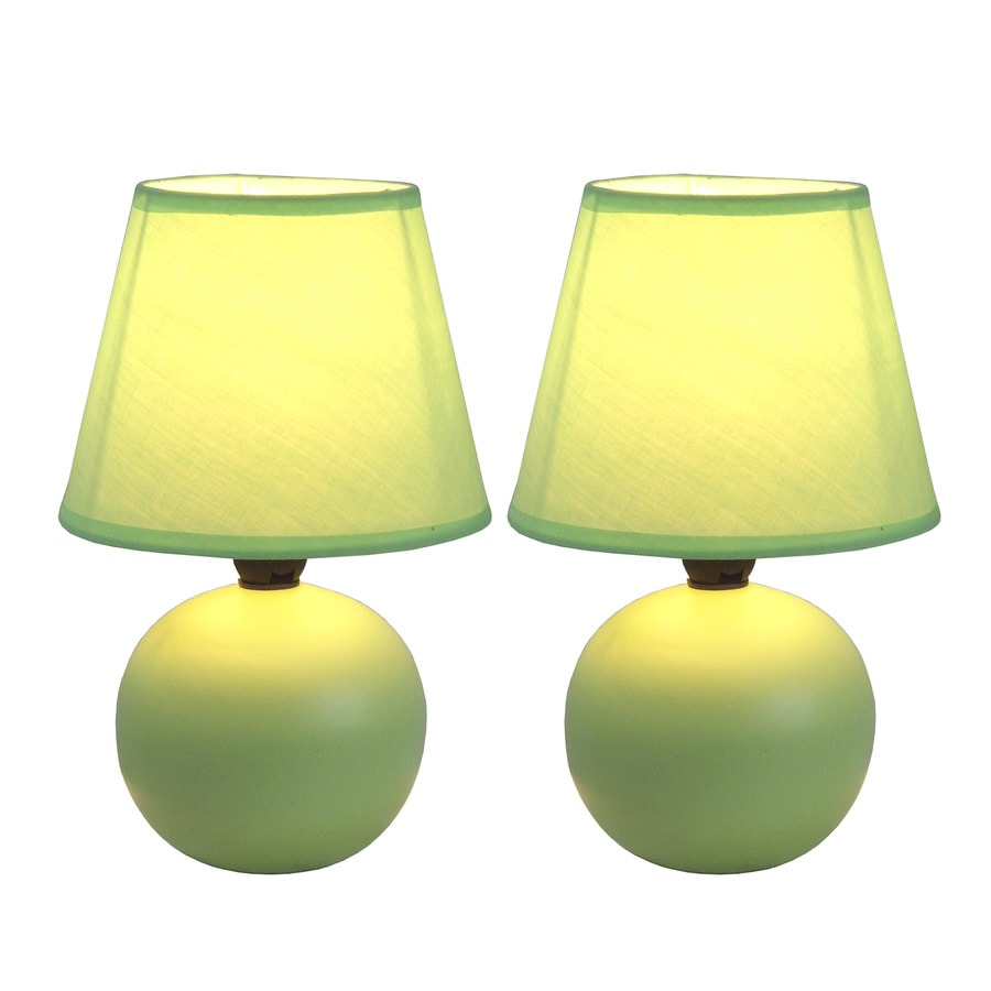 Simple Designs 2 Piece Novelty Lamp Set With Green Shades
