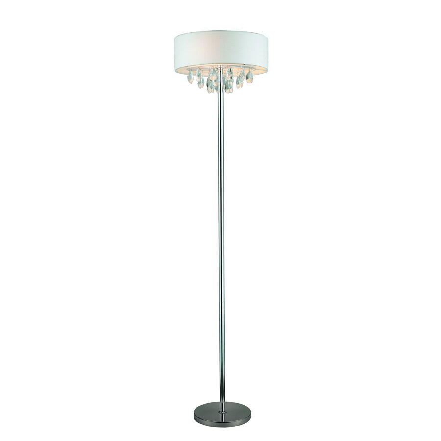 Elegant Designs 61.5-in Chrome Shaded Floor Lamp Indoor Floor Lamp with Fabric Shade