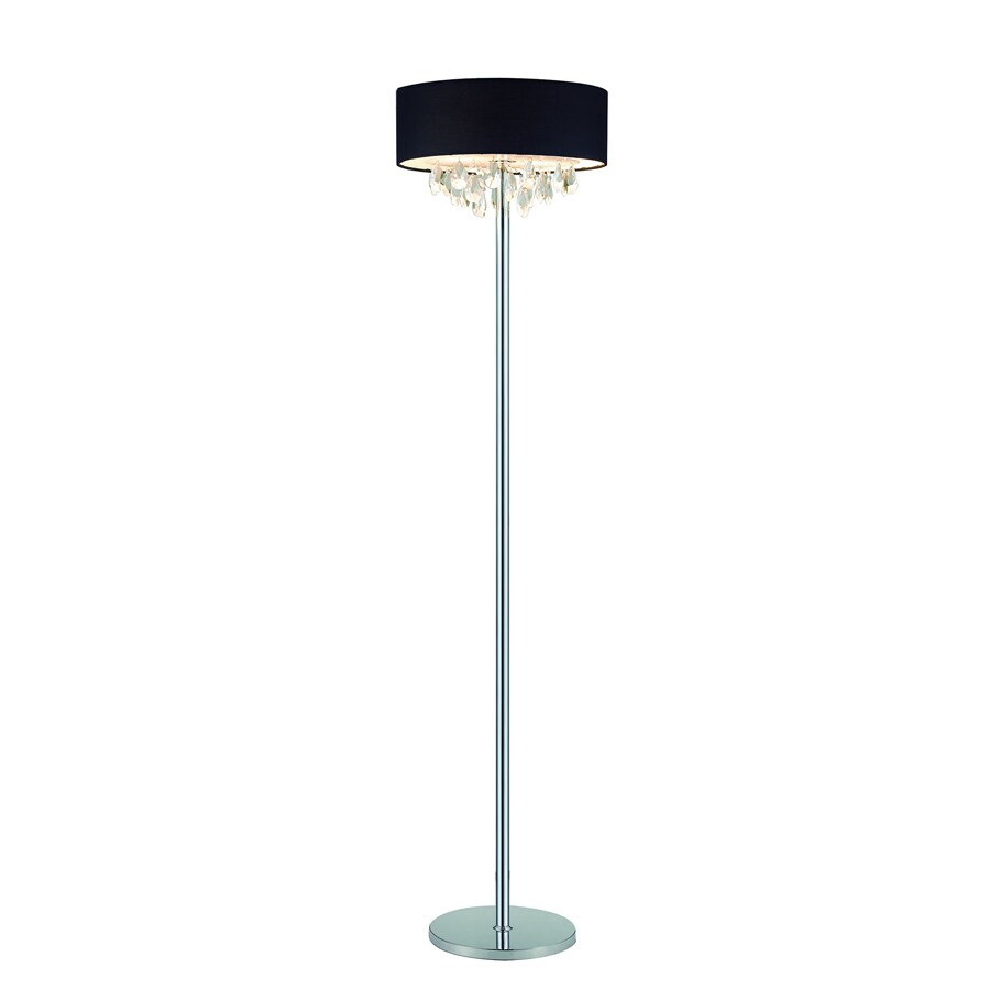 Elegant Designs 61.5-in Chrome Foot Switch Floor Lamp with Fabric Shade