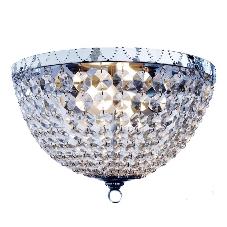 Elegant Designs 13-in W Chrome Crystal Flush Mount Light
