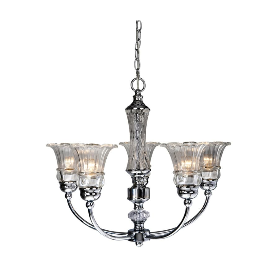 Elegant Designs 24-in 5-Light Chrome Hardwired Ribbed Glass Shaded Standard Chandelier