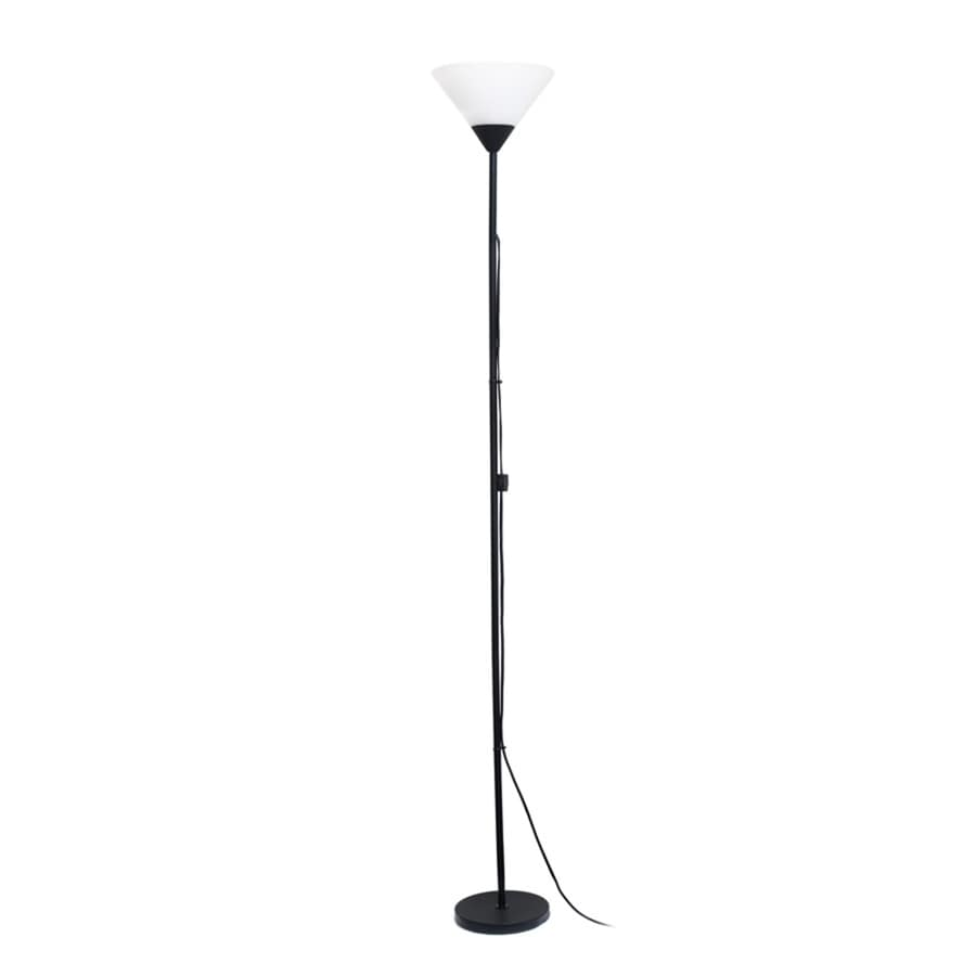 Simple Designs 71.25-in Black Rotary Socket Torchiere Floor Lamp with Plastic Shade