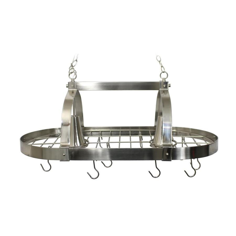 Elegant Designs 18.8-in W 2-Light Brushed Nickel Lighted Pot Rack