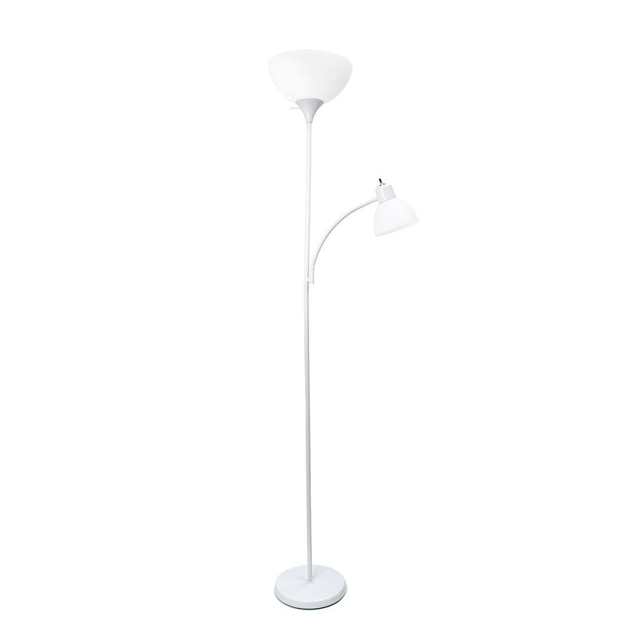 Shop simple designs 715 in white 3 way torchiere with for Lowes floor lamp with reading light